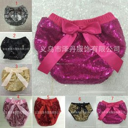 Wholesale Baby Bread Pants - New Baby Sequin pp pants cute infant shorts pants Kids Briefs summer Bread pants with bow free shipping C1086