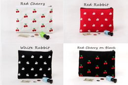 Wholesale Embroidery Cosmetic Bag - Embroidery Cherry Rabbit Canvas Fabric Clutch Bag Purse Handbag File Pocket Coin Purse Cosmetic Bags Debris Bags Zipper Cotton Liner linning