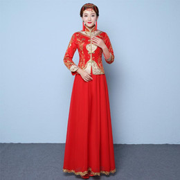 Wholesale Cheongsam Sequin - Red US2-US10 Custom made 2017 New fashion winter season chinese tradition cheongsam long sleeve embroidery evening dress