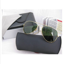 Wholesale Frame Sizes Glasses - High Quality Mens Womans Glasses Gold Frame Green Lens 58mm and 62mm Size Sunglasses Designer Sport Sunglasses come box