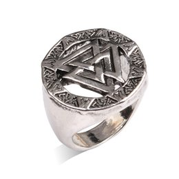 Wholesale Signet Silver - Fashion Antique Silver Ring Valknut Odin Symbol Signet Norse Viking Finger Ring Rune For Men Amulet Runic Noric Biker Punk Jewelry