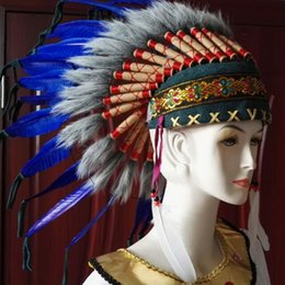 Wholesale Feather Hair Dye - Indian Chiefs Feather Hat Perform Play Photograph Hair Accessories Bar Stage Property Tools Creative Hat 2pcs