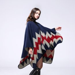 Wholesale Air Conditioner Blanket - Hot Sale Europe Handmade Cashmere Women's Poncho Capes Shawl Warm Air Conditioner Oversized Blanket Scarf Long Cardigan Coat