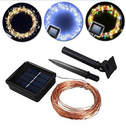Wholesale Solar Powered Xmas Lights Outdoor - xmas Solar Power String Light Waterproof LED Light 10m 100 LED Copper Wire lamp Warm White For Outdoor Christmas lamp decoration lights