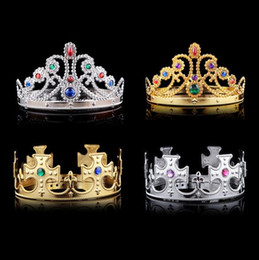Wholesale Cosplay Blue Hair - 4 styles Christmas girl boy Cosplay King and Queen hairbands with crystals gold silver kids Christmas Cosplay Crown Hair Accessory