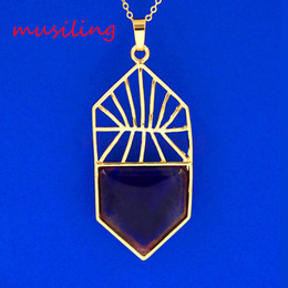 Wholesale Hoop Charms Wholesale - Natural Stone Basketball Hoop Pendants Necklace Chain Pendulum Gold Plated Reiki Charms Lapis Lazuli Crystal etc Stone Fashion Jewelry
