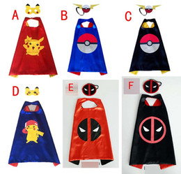 Wholesale Clothing For Stage Performance - Poke go double layer cape children Cosplay capes Halloween Party Costumes for Kids clothes 1pcs mask+1pcs cape B001