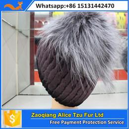 Wholesale Rabbit Hat Costume - Wholesale-Alice fur sexy women knitted rex rabbit fox fur hat