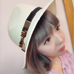 Wholesale Brim Iron - 2016 New personality casual summer hat Ms. double iron bow cap British hood wholesale woven grass