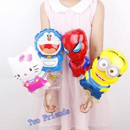 Wholesale Gift Minion - Bracelet balloons Spiderman kt minion wrist balloon 40x16cm 100pcs happy birthday decorations Fashion gift kids toys wholesale