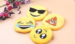 Wholesale Anime Pendants - 2017 New Hot expression Coin Purses cute emoji coin bag plush pendant High quality free shipping