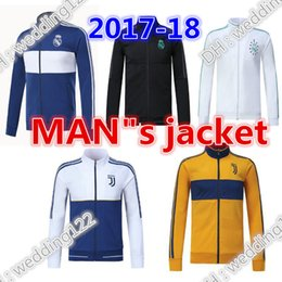 Wholesale Fleece Black Jacket - Full Zipper 2017 2018 Ajax Jacket Tracksuit 17 18 Real Madrid AC Milan Track Soccer Jogging Football Tops Coat Pant Men Training Suit