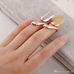Wholesale adjustable ring nail - shiny gold silver snake finger nail ring women adjustable alloy Snake Band Rings cuff Nail Art punk statement jewelry 080059