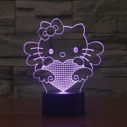 Wholesale Pumpkin Cats - 2017 new hello kitty Cat Optical Night Light 9 LEDs Night Light DC 5V Factory Wholesale