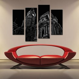 Wholesale Canvas Wall Clocks - 4 Panle Black & White Wall Art Paintings of Britain London Big Ben Clock Tower Oil Painting On Canvas Modern Art Home Decor For Living Room