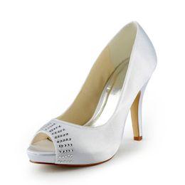 Wholesale Satin Pump Almond Toe - 2015 Women Silver Custom big size wedding shoes crystals rhinestones bridal wedding Peep toe shoes Diamond Shoes Party Prom High Heels shoes