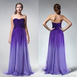 Wholesale Girls Ombre Dresses - Ombre Purple Cheap Long Bridesmaid Dresses Sweetheart Backless Sleeveless Ruched A-Line Lady Bridesmaids Gowns Custom Made Girls Dress