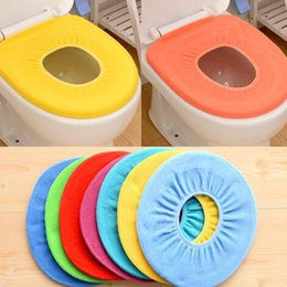 Wholesale Toilet Washable Cloth Seat Cover - 2016 New Toilet Seat Cover Bathroom Warmer Soft Cloth Washable Pads Soft Comfortable Toilet Mat ,colour mixture