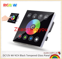 Wholesale Touch Wall Dimmer Led - DC12V 4A*4CH Black Tempered Glass Panel Digital Touch Screen Dimmer Home Wall Light Switch For RGBW LED Strip Tape 3 Channel