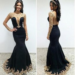 Wholesale Dress Mermaid Golden Backless - Vintage Plunging Sheer Neck Prom Dresses Black Mermaid Golden Lace Appliques Sexy Open Back Evening Gowns