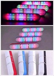 Wholesale Flash Player Light - Colorful JHW-V318 Pulse Pills Led Flash Lighting Portable Wireless Bluetooth Speaker Bulit-in Mic Handsfree Speakers Support FM USB