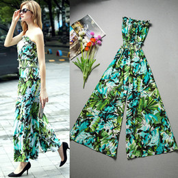 Wholesale Fresh Leg - Summer Brand New Women Fashion Fresh Green Flower Print Strapless Ruffle Tube Collar Elastic Waist Wide Leg Elegant Jumpsuit