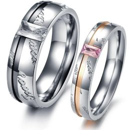 Wholesale Ring Wedding Pair Gold - ZHF JEWELRY lover's gift stainless steel couple finger rings never fade NEW ARRIVAL one pair price 327