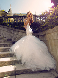 Wholesale Trumpet Silhouette Dress - 2016 mermaid Tulle Wedding Gowns sweetheart bodice and open back silhouette features delicate rosette encrusted shoulder straps