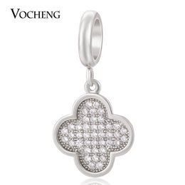 Wholesale Gold Faded Bracelet - VOCHENG Endless Charms Brass Material Filled CZ Stone 3 Colors Interchangeable Jewelry Not Fade Lambskin Bracelet Charm VC-161