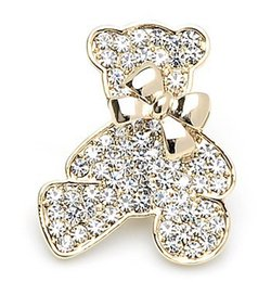 Wholesale Bridal Teddy - OneckOha High Quality Decorative Garment Accessories Wedding Bridal Full Rhinestone Animal Teddy Bear Bowtie Brooch Pin