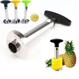 Wholesale Pineapple Peeler Cutter - 3 Colors Pineapple Corer Slicer Peeler Multi-function Stainless Steel Pineapple Knife Creative Cutter Parer Pulp Separator CCA7724 30pcs