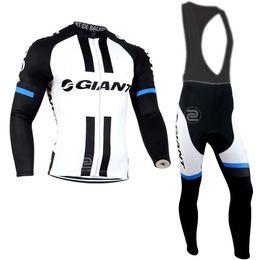 NEW GLANT tour DE Francia team Cycling Jersey Set manica lunga nero / bianco Abbigliamento ciclismo Ciclismo Top + BIB Pantaloni imbottiti Bike Suit da