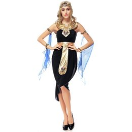 Wholesale Halloween Greek Goddess - Halloween Fantastic Greek Goddess Dress Role Playing Indian Dance Performance Dress Egyptian Queen Cleopatra Masquerade Costumes W542805