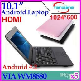 Wholesale Mini Laptop Netbook Windows - DHL 5PCS 10 inch VIA 8880 mini Netbook laptops Android 4.2 windows Laptop 512M 4GB with webcam HDMI ZY-BJ-3