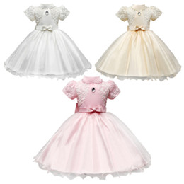 Wholesale Floral Mesh Dress - PrettyBaby 3colors girls dress short sleeves hollow embroidered princess dresses bow belt mesh tutu dresses free shipping 200pcs Lot