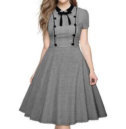 MAYFULL S-2XL новый высокое качество мода винтаж 1950-х годов черный и белый женщины плед ретро с коротким рукавом платье принцессы леди Офис Работы платье supplier vintage black white princess от Поставщики старинная черно-белая принцесса