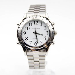 Wholesale Plastic Blinds - 2016 Watches For Blind Or Visually Impaired Watch Simply English Talking Clock Stainless Steel Relogios Masculinos #25