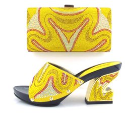 Wholesale Bag Shoes Price - VIVILACE TH16-20 yellow fashion shoes and bag set best price in stock african shoes and matching bag