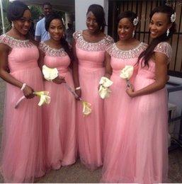 Pink Scoop Neck vestidos largos de tul de dama de honor con mangas cortas 2016 Crystal Rhinestone vestido de fiesta para la boda desde fabricantes