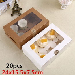 Wholesale Tart Packaging Box - 24x15.5x7.5cm 20pcs High quality clear plastic window kraft paper boxes  Six holes packaging cupcake,Muffin,egg tart gaine
