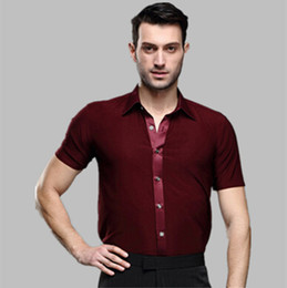 Wholesale Samba Dancing Clothes - new male summer adult Latin dance SHIRT MENS shirts Latin training clothes modern dance Rumba Samba Jive ballroom shirt