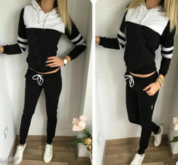 Wholesale Jumping Clothing - Wholesale famous brand sport tracksuits for women new long sleeve hooded women tracksuit hot running jumping slim ladies sport clothing sets