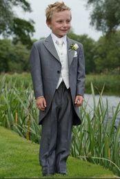 Wholesale Kids Grey Tuxedos - Custom Made Morning Style Boy Tuxedos Peak Lapel Children Suit Grey Kid Wedding Prom Suits Boy's Formal Wear Tuxedos Children Long Tail Suit