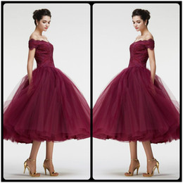 Wholesale Tea Party Dresses Womens - Burgundy Off the Shoulder Ball Gown VIntage Lace Prom Dresses Tea Length Charming Puffy Train Evening Party Dress For Womens Gowns