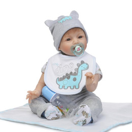 Wholesale Vinyl 12 Inch - Wholesale- New 55cm Soft Silicone Reborn Dolls Baby Realistic Doll Reborn 22 Inch Cotton Body Vinyl Boneca Baby Reborn Doll For Girls Boys