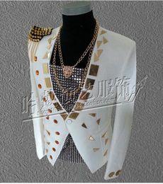 Wholesale Performance Mirror - Man han edition nightclub singer costumes new street fashion star mirror stage performance clothing white coat.S - 4 xl