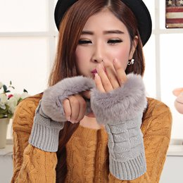 Wholesale Long Faux Fur Gloves Fingerless - Wholesale- women winter warm faux rabbit fur glove thick long glove knitted semi-finger gloves 5 color to choose cute fashion winter glove