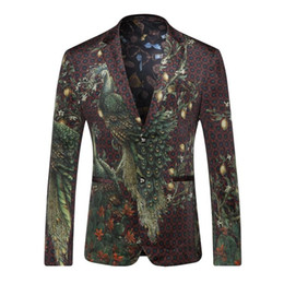 Wholesale Winter Jackets United States - Europe and the United States men's clothing in the autumn of 2016 The new winter Long sleeve peacock color printing velvet jackets