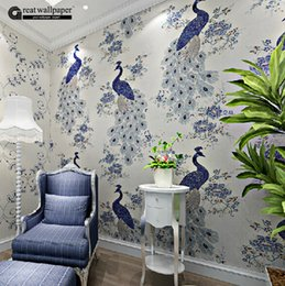 Wholesale Great Wall Decor - Wholesale- Great wall southeast asian chinese style non-woven peacock wallpaper mural,personality wall papers home decor for living room