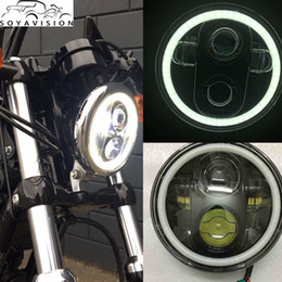 "Wholesale Eyes Bobs - 5.75"" Motorcycle H4 Hi Lo Beam 5 3 4"" LED Headlight with Angel eyes Halo for Harley Sportster Iron 883 1200 Dyna Street Bob FXDB"
